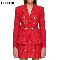 winter blazer feminino england style office work jacket double breasted tweed blazers women blazers and jackets