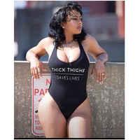 THICK THIGHS SAVE LIVES One Piece Swimsuit Summer Swimwear Women Plus Size Sexy Bodysuit High Cut Bathing Suit maillot de bain
