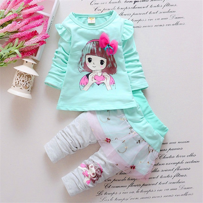 BibiCola Spring Autumn baby girls clothing suit children Tracksuit outfits Kinder Blue T-shirt +Pants skirt kids clothes sets keaiyouhuo girls clothes summer tracksuit for girls sport suit children clothing sets vest lace t shirt skirt costume for kids