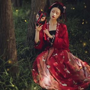 Rouge Hanfu femmes classique danse Costume imprimé prune Festival tenue fée robe chinois Performance vêtements 3 pièces ensemble DF1070