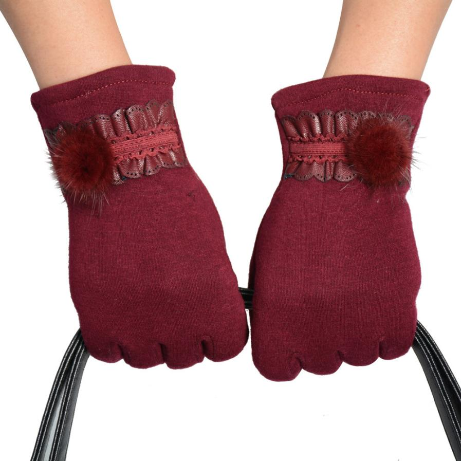 Ladies coloured leather gloves - Women Gloves Cotton Pu Leather Girl Screen Mittens Windstopper Driving Gloves Ball Female Winter Mittens 22 5