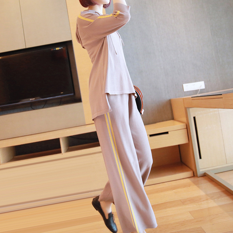 Casual suit female 2019 spring and summer new sweater women's fashion hooded sweater wide leg pants two sets of tide 4