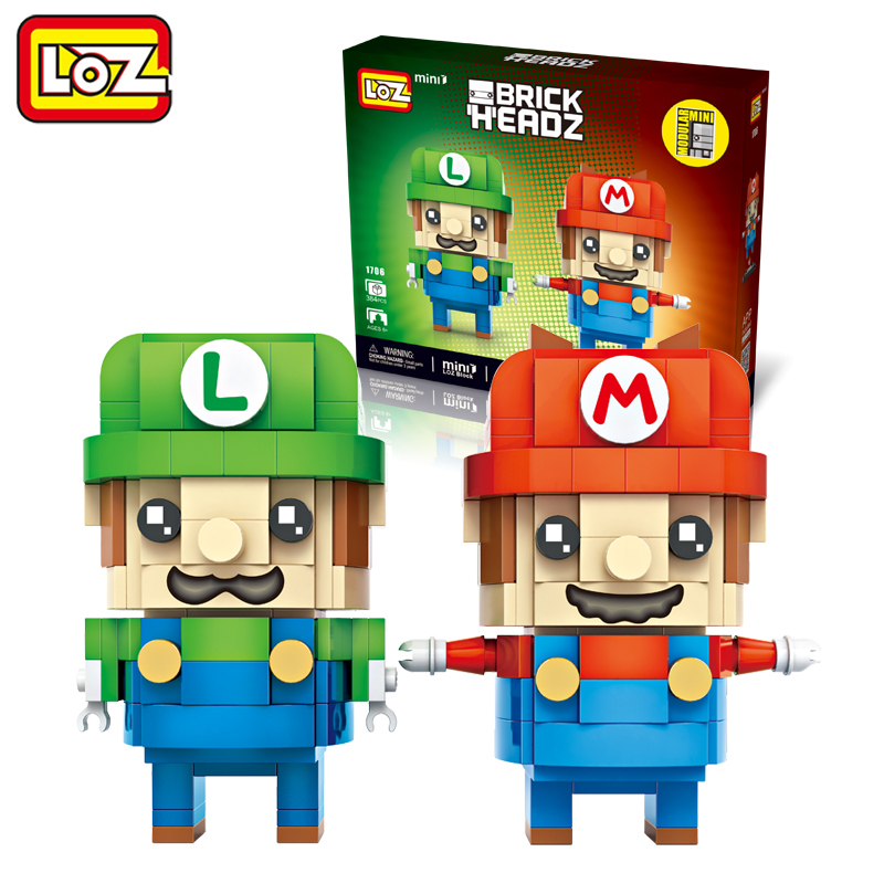 LOZ Super Mario Bros Mario and Luigi 2in1 Mini Blocks Brick Heads Action Figure Toy RPG Game 6+ 384PCS 1706 фигурка героя мультфильма legacy 501 s370 3 75
