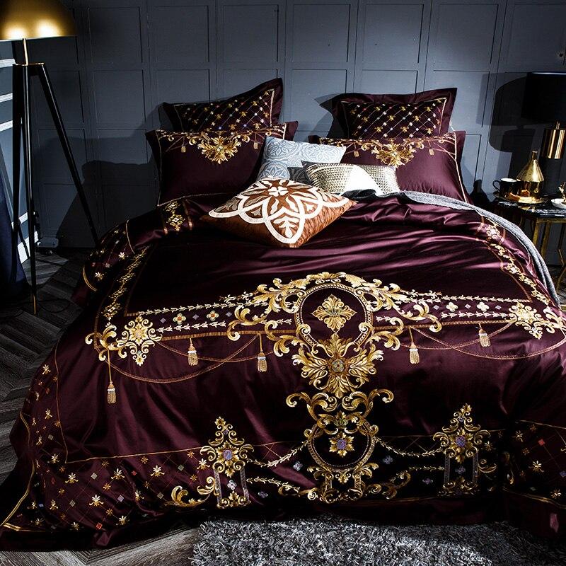 Juego de sábanas de lujo sedoso de algodón egipcio 1000TC juego de sábanas de tamaño Queen King de cama-in Juegos de ropa de cama from Hogar y Mascotas    2