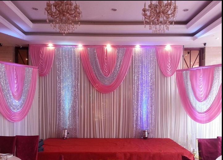 New design creative wedding backdrop curtain backdrop wedding stage 2016 customized item pink white 3set wedding backdrop curtain backdrop wedding stage backdrop drape party junglespirit Images