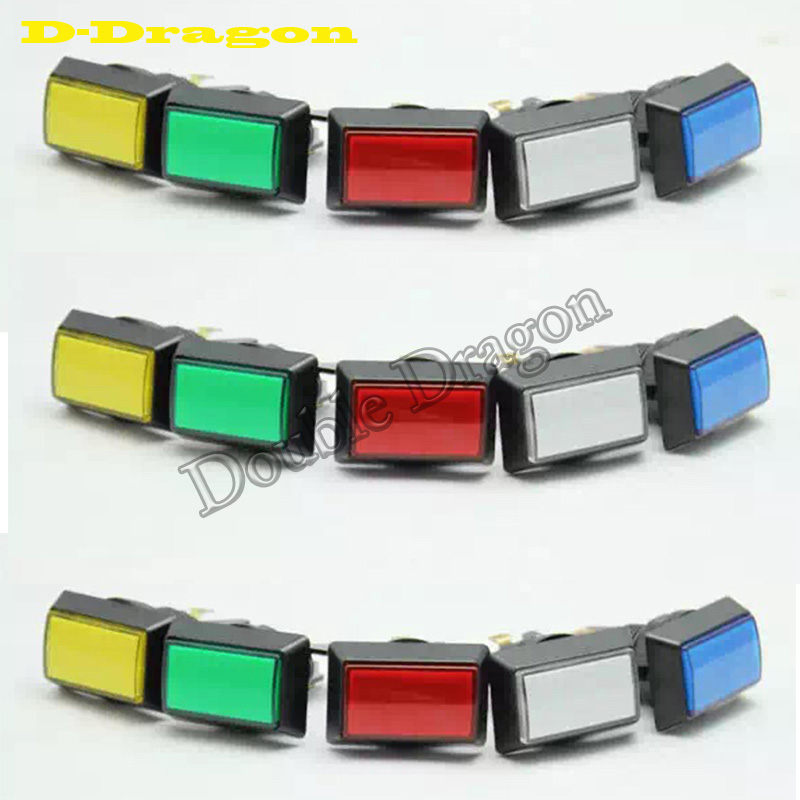 50pcs lot red blue green yellow white rectangle 51mm 34mm lighted button Illuminated Push Button with