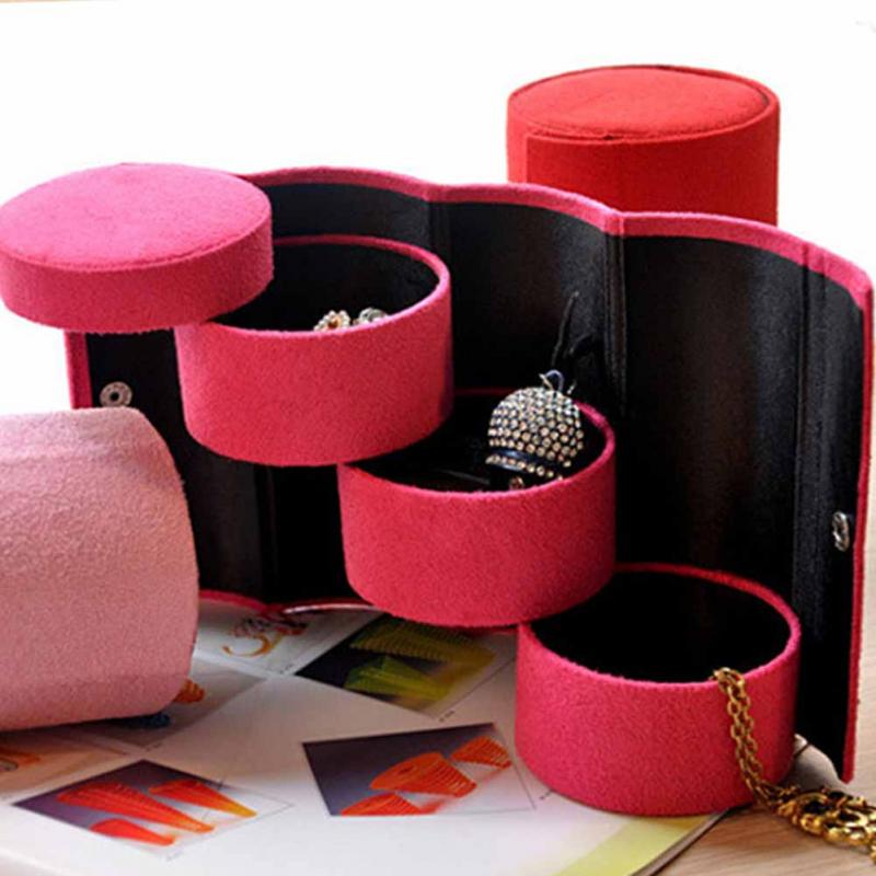 Hot Sales Jewelry Case Stylish Retro Travel Three-Layer Roll-up Snap Storage Velvet Jewelry Box For Earring Bracelet Necklace &