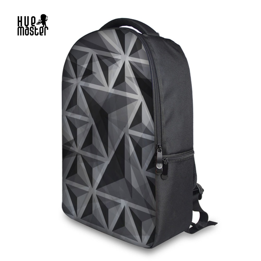 Sac à dos pour ordinateur portable noir géométrique impression sacs d'école pour lycée 900D tissu sac à dos décontracté femme sacs à dos pour hommes