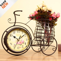 Watch Iron Bicycle Clock European Garden Ornaments Personalized Living Room Decoration Double Mute Clock