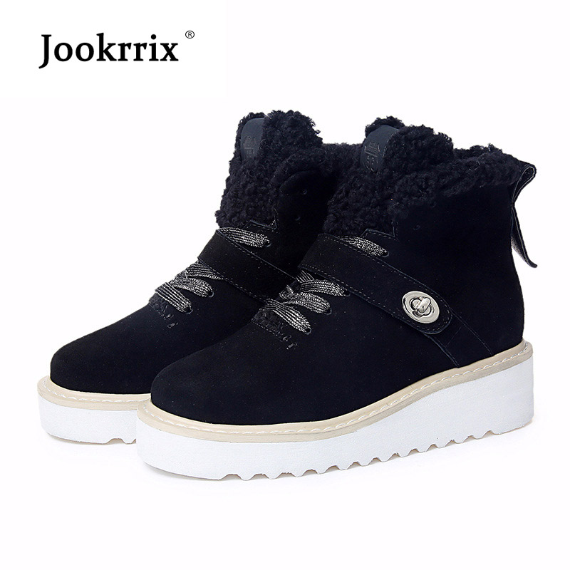Jookrrix Winter Warm Shoes Women Fashion Brand Martin Boots Lady chaussure Female footware Real Leather Boots Fur botas mujer