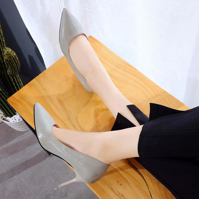 2019 HOT Women Shoes Pointed Toe Pumps Patent Leather Dress  High Heels Boat Shoes Wedding Shoes Zapatos Mujer Blue White 54