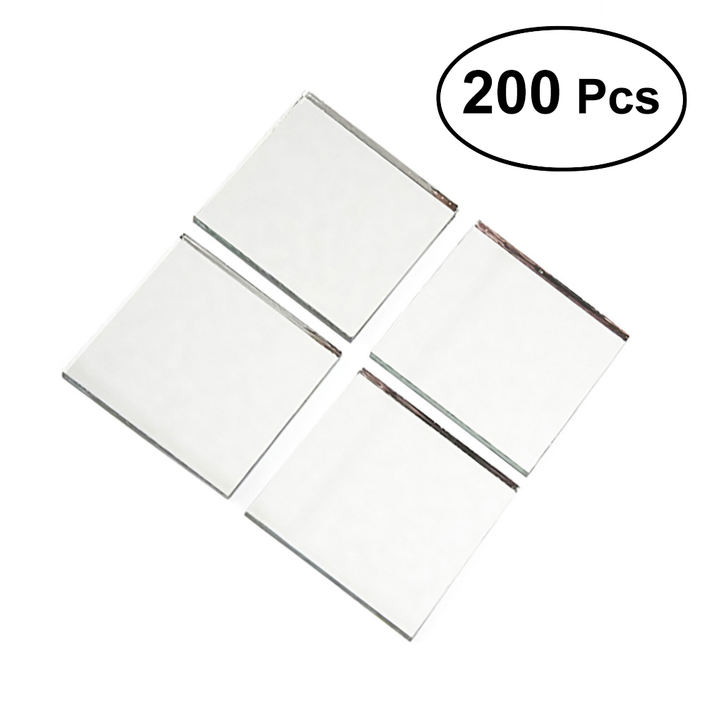 Set of 200pcs Small Round Glass Crafts Real Glass Mirror Mosaic Tiles 1x1cm