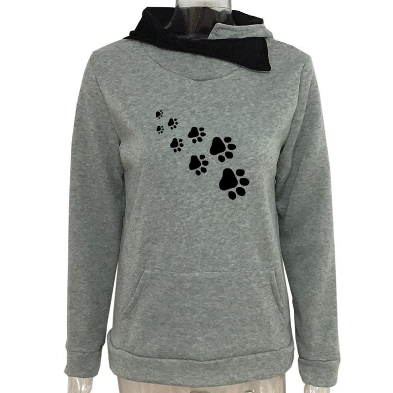 New Fashion Cat Dog Paw Print Sweatshirts Hoodies Women Tops Pockets Cotton Female Cropped Street Thick Winter Or Sping 7