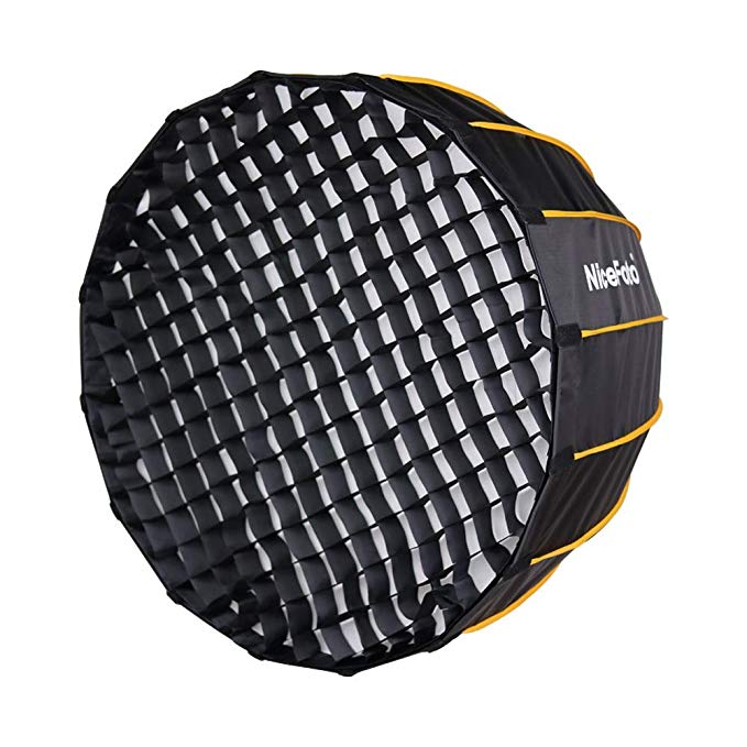 Fomito Nicefoto 35.4 inches/ 90cm Parabolic Softbox with Grid and Bowen Mount for Studio Flash LED Light Photography