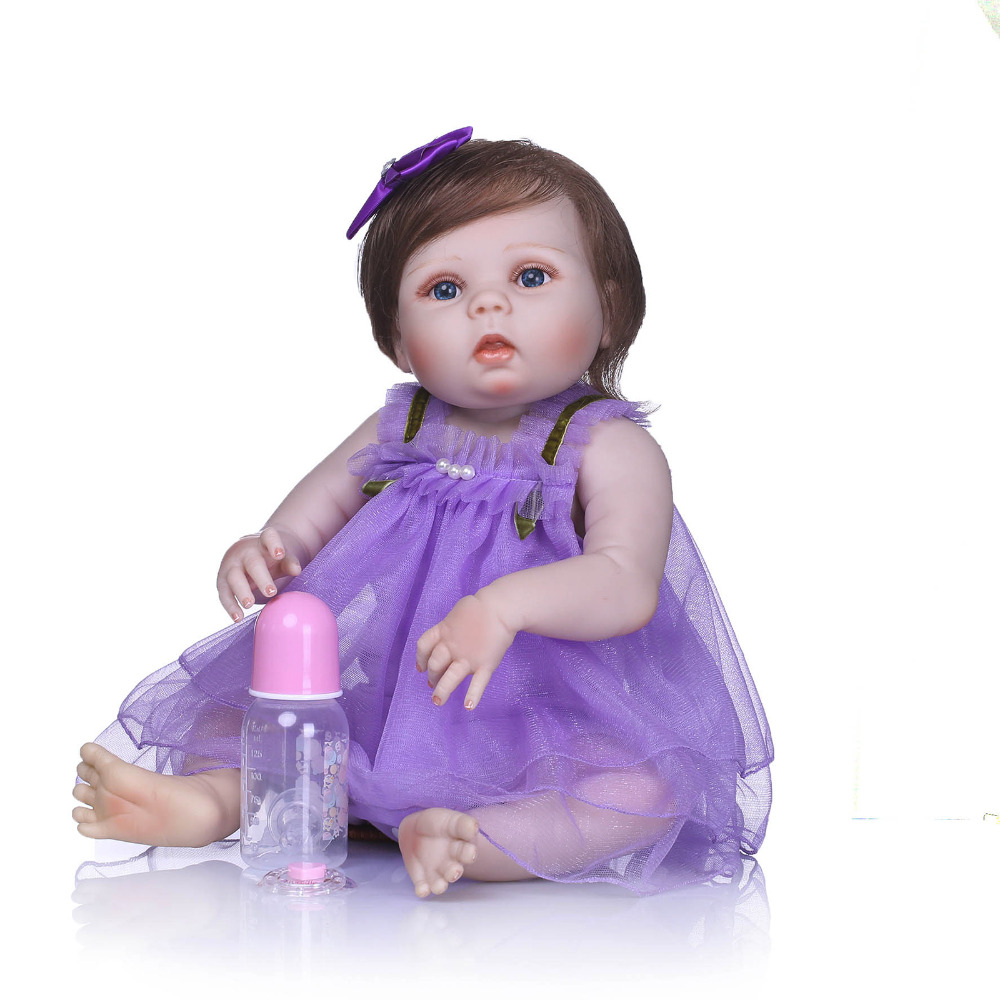 Nicery 22inch 55cm Bebe Reborn Doll Hard Silicone Boy Girl Toy Reborn Baby Doll Gift for Child Purple Dress Blue Eyes Baby Doll nicery 22inch 55cm bebe reborn doll hard silicone boy girl toy reborn baby doll gift for children purple princess hat baby doll