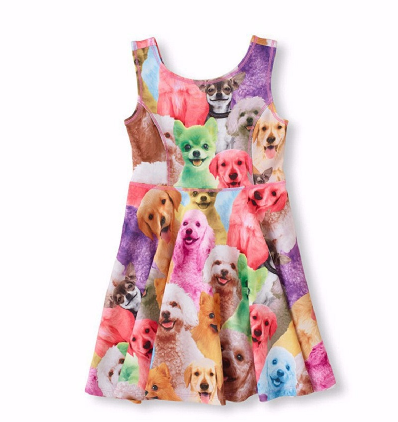 Cute animal cat dog print teenage girl dresses teen clothing for girls summer style cotton big girls dress cute 18 inch animal cat dog printing