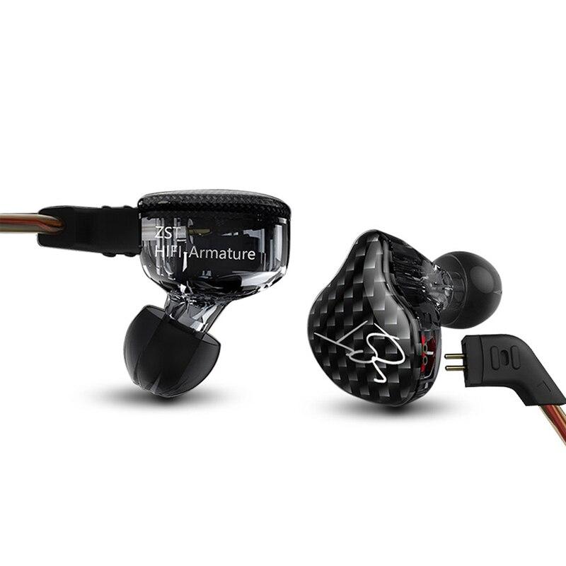 D'origine KZ ZST BA + DD Dans L'oreille Écouteur Hybride Casque HIFI Basse Écouteurs Antibruit Avec Micro Remplacé Câble