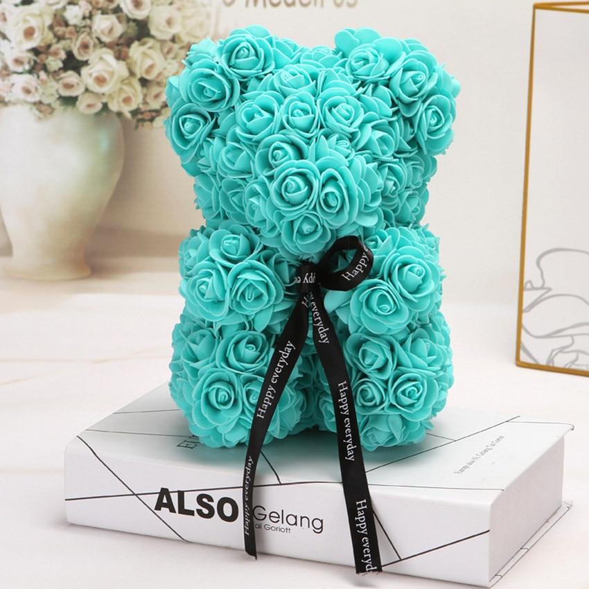 Горячая Распродажа, подарок на день Святого Валентина, 25 см, красная роза, плюшевый мишка, цветок розы, искусственное украшение, рождественские подарки для женщин, подарок на день Святого Валентина - Цвет: Tiffany 25cm No Box