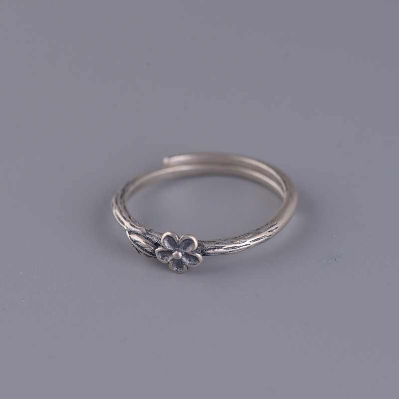 BALMORA 925 فضة أنيقة زهر البرقوق فتح خاتم مصمم من أجزاء متراصة للنساء الأم هدية خمر مجوهرات الأزياء بسيطة Anillos