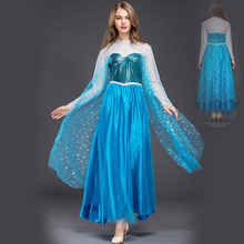 Adult Elsa Princess Fancy Dress Queen Anna Costume Grow Princess Elsa Cosplay Costume for Women Halloween Party Dress Costumes