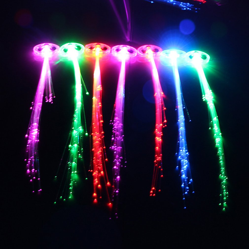 1pcs Flashing Fiber Optic Hair Braid Light Up Glow Party Favors Supplies Barrettes Light Up Hair Accessories Luminous Toys