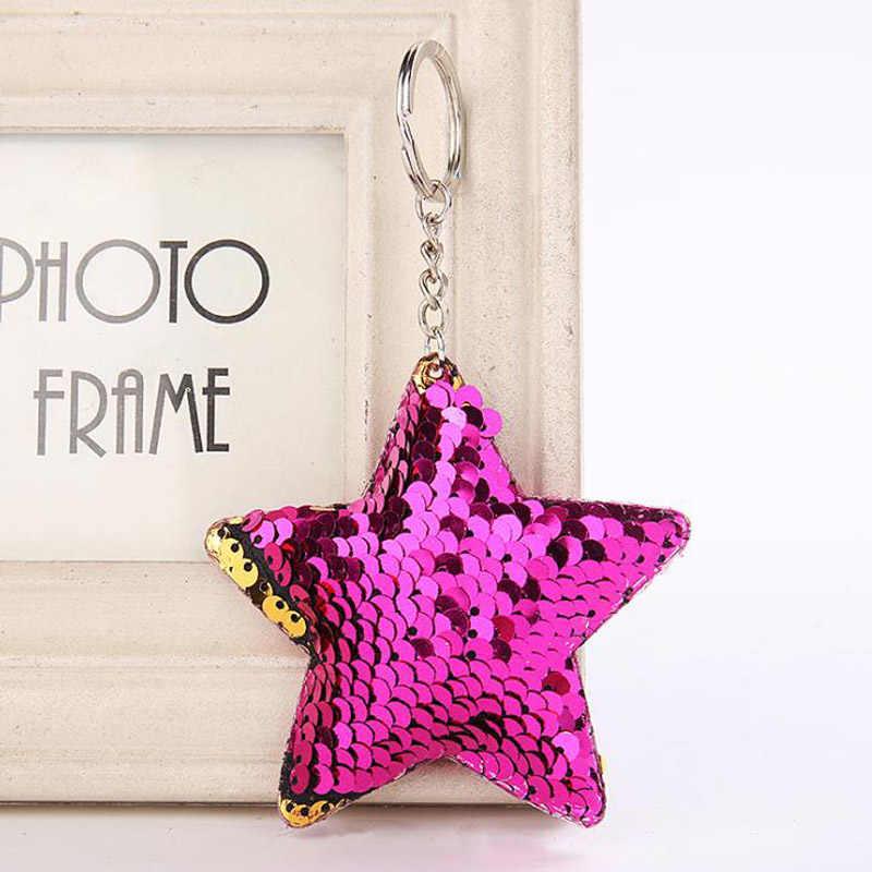 Милый chaviro Звездный брелок Блестящий помпон блестки Подарочная цепочка для ключей для женщин Llaveros Mujer Автомобильная сумка аксессуары на кольцо для ключей