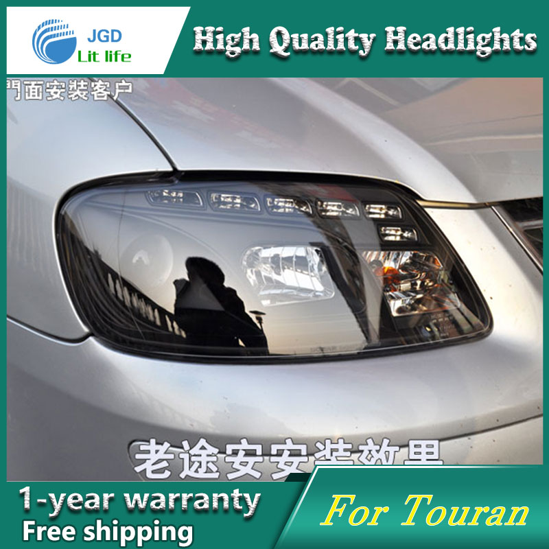 high quality Car styling case for VW Touran 2003-2006 Headlights LED Headlight DRL Lens Double Beam HID Xenon hireno headlamp for 2016 hyundai elantra headlight assembly led drl angel lens double beam hid xenon 2pcs