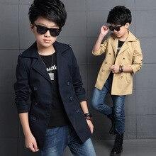 Двубортные плащи с поясом для мальчиков; приталенная куртка; ветровка для мальчиков; классические плащи; куртки цвета хаки; размеры 5-14