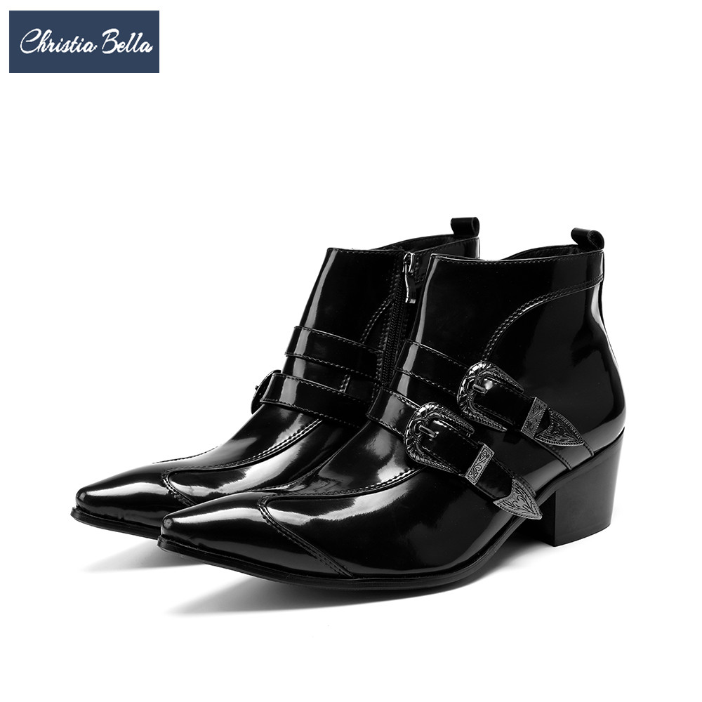 Christia Bella Brand Genuine Leather Men Boots Black Pointed Toe Buckle Ankle Boots Party Dress Shoes Large Size Motorcycle Boot