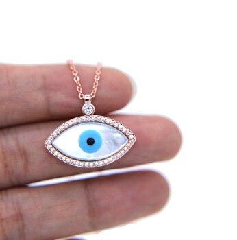 Collar con símbolo de suerte para mujer, colgante turco de ojo malvado, Ojo de la madre de la perla, joyería de moda en 3 colores, Última Noticia de alta calidad