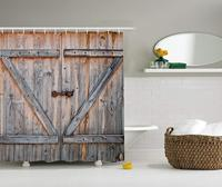 Fabric Shower Curtain,Old WoodenGarage Door Style Decorations for Bathroom Print Vintage Rustic Theme Decor