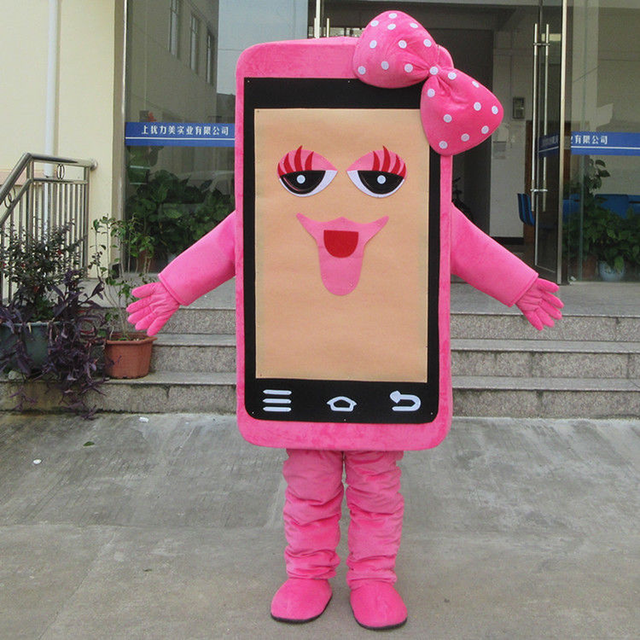 Pink Phone Mascot Costume Suits Cosplay Party Game Dress Outfits Clothing Advertising Carnival Halloween Christmas Easter Adults