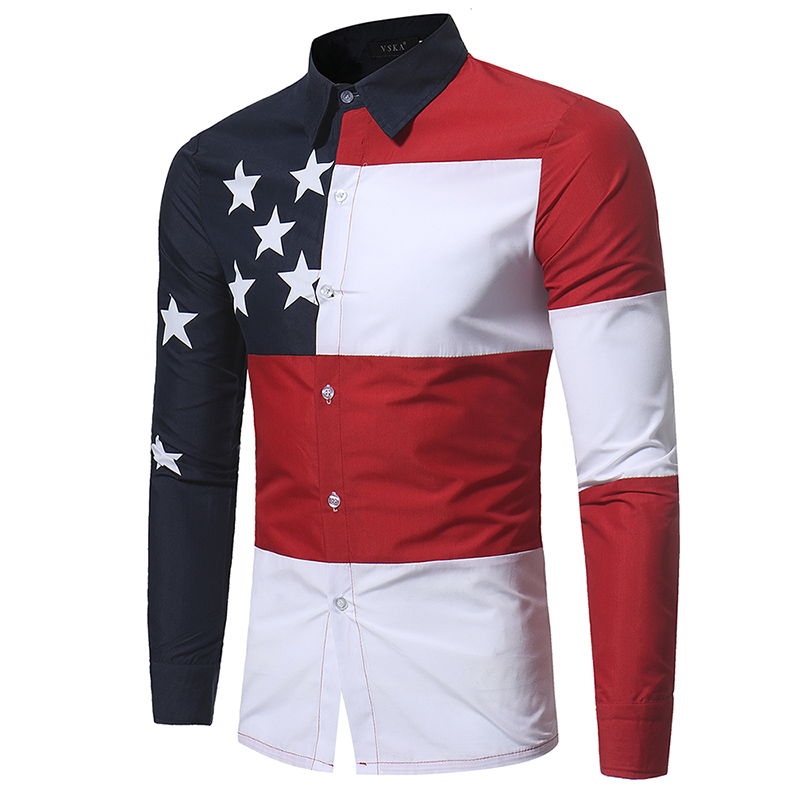 Promotion sale Flag stars color patchwork men 39 s slim fit Western fashion design young man shirts casual boys clothing M 2XL in Casual Shirts from Men 39 s Clothing