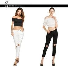 2018 Новый Для женщин уничтожены Эластичные Обтягивающие рваные джинсы