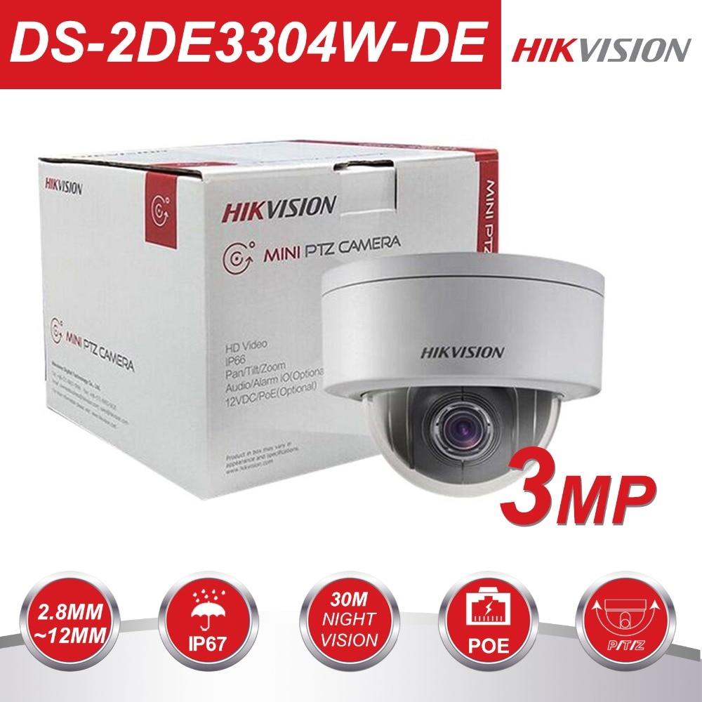 HIKVISION PTZ Dôme caméra cctv DS-2DE3304W-DE 3MP Réseau Mini PTZ IP Caméra PoE 2.8-12mm 3D Positionnables IP67 Pan tilt Zoom