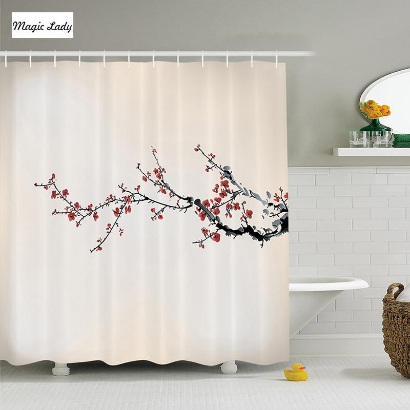 Rideau de douche Sakura fleurs branche Beige rouge noir ...