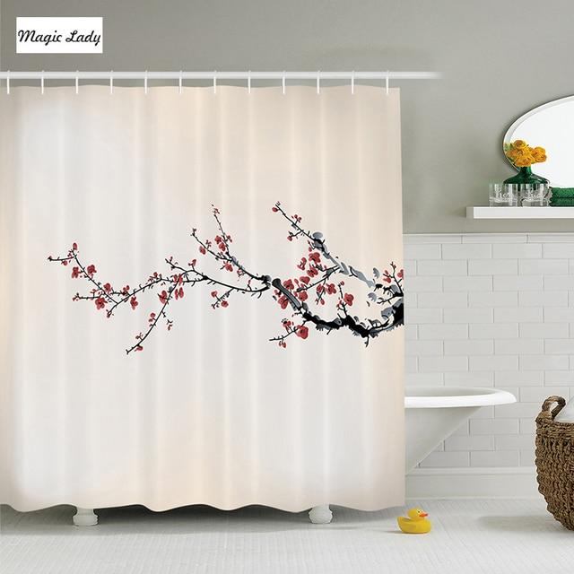 Shower Curtain Sakura Flowers Branch Beige Red Black Polyester ...