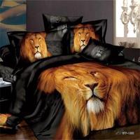 3D סט מצעים שחורים אריה זכר מתאים מלכה/גודל מלא מיטת 100% כותנה טקסטיל בעלי החיים הדפסת Manly שמיכה כיסוי מיטת גיליון