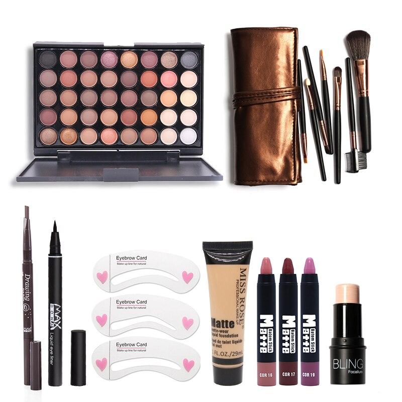 Makup Tool Kit 8 PCS Doit Avoir Cosmétiques Y Compris Fard À Paupières Mat Rouge À Lèvres Avec Fondation Eyeliner Maquillage Brosse Ensemble