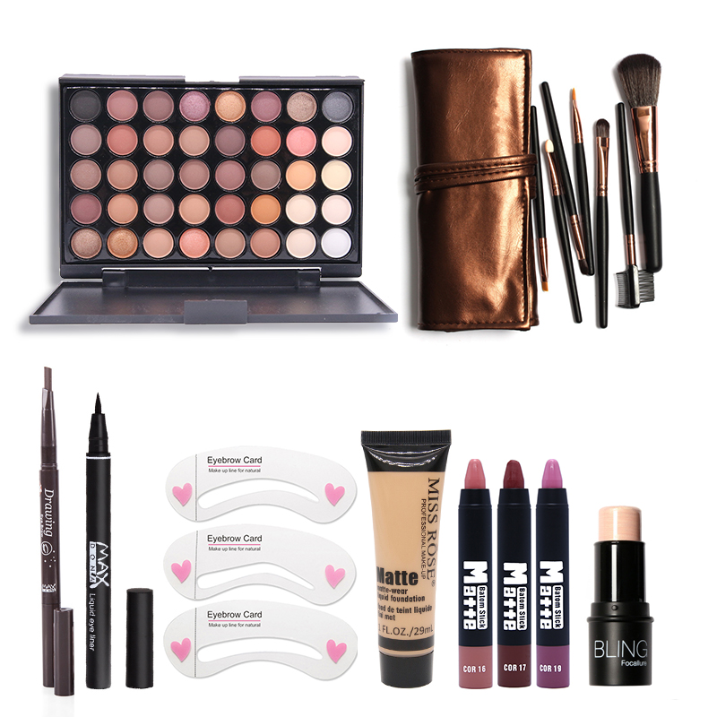 Makup Tool Kit 8 PCS Must Have Cosmetics Including Eyeshadow Matte Lipstick With Foundation Eyeliner Makeup Brush Set must have