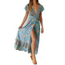 Для женщин с удлиненной юбкой в стиле бохо, платье летнее платье с цветочным рисунком, пляжные Коктейльные Вечерние длинные Открытое платье без рукавов модное Повседневное на каждый день короткий рукав высокое платье с разрезом