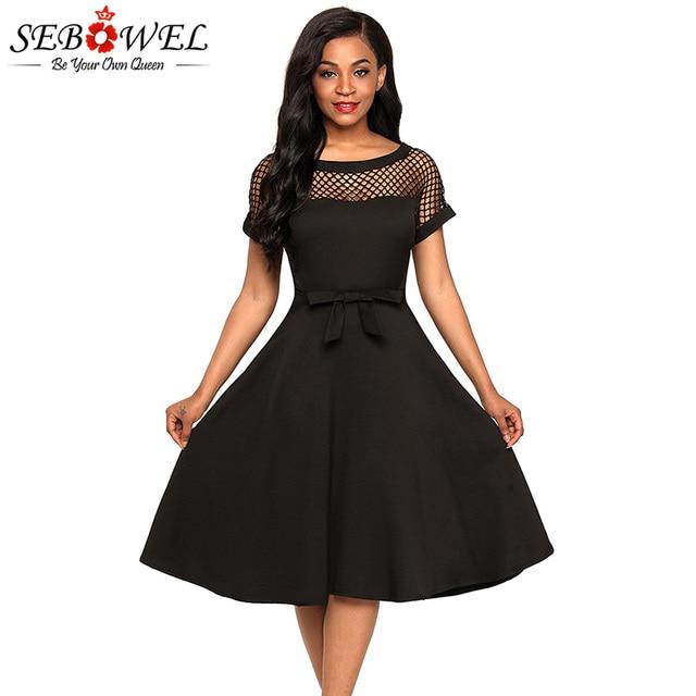 SEBOWEL 2018 Sexy Black Fishnet Skater Party Dress Women Summer Elegant Short  Sleeve A-Line 426d8be65f70