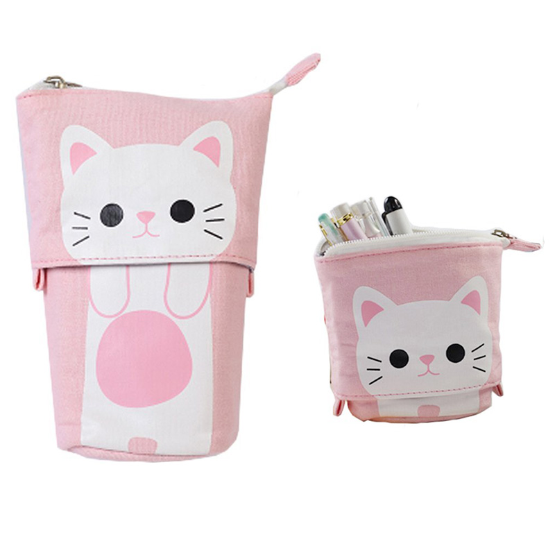 NEW canvas Cartoon Cute Cat Telescopic Pencil Pouch Bag Stationery Pen Case Box with Zipper Closure student navy canvas pen pencil case high quality stripes coin purse fashion zipper pouch bag new estojo de lapis y