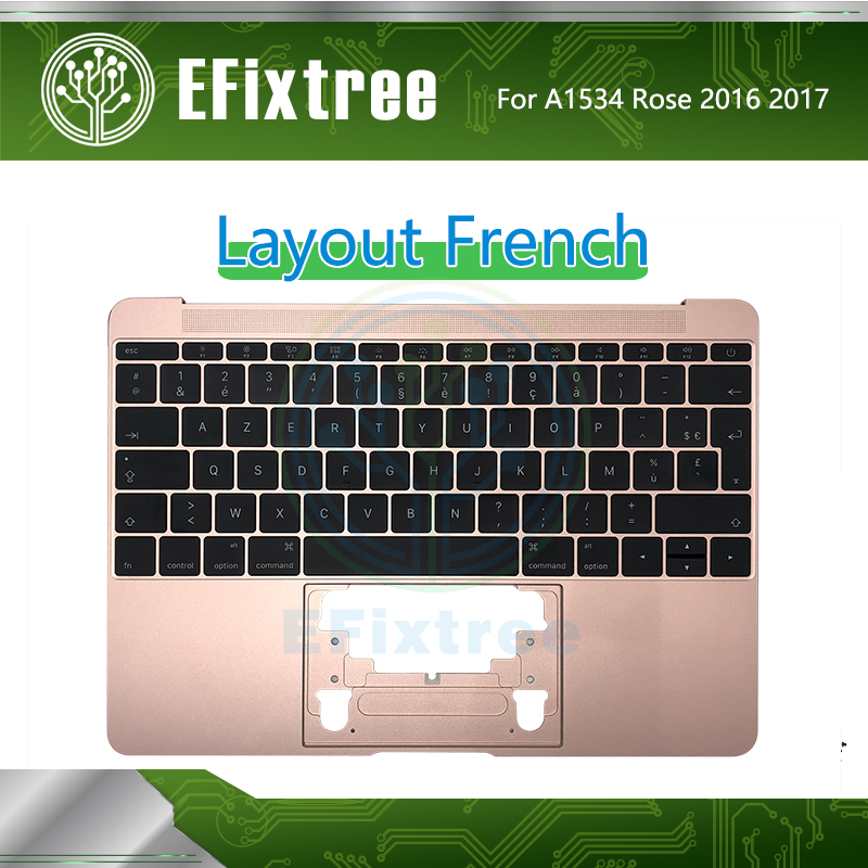 Rose Gold Topcase C Case Housing For Macbook Retina 12''A1534 Top Case With Keyboard French Layout EMC 3099 2991 2016 2017 FR
