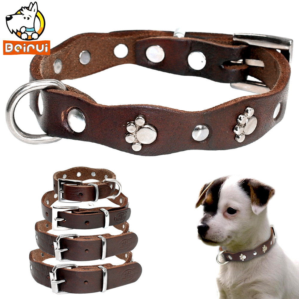 Genuine Leather Dog Collar Soft Adjustable Studded Pet Collars For Small Medium Dogs Cats Pitbull Brown Color XXS XS S M