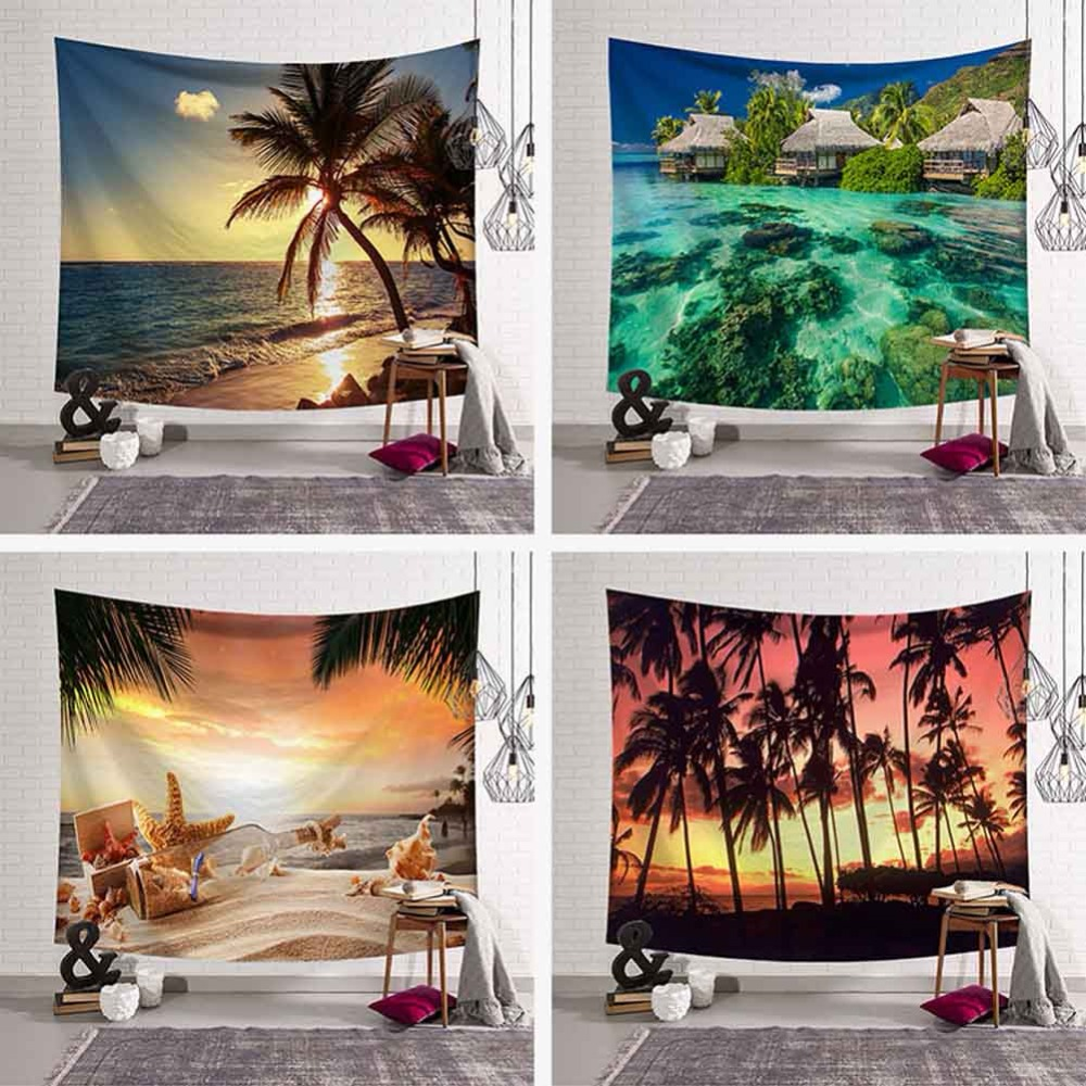 Tropical Palm Tree Leaves Tapestry Wall Hanging Seaside Sunset Landscape Tapestries Yoga Beach Towel/Mat Bohemian Decor for Home