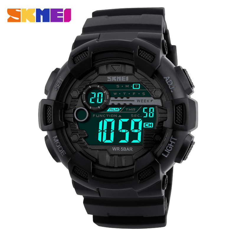 SKMEI Heren Sport Digital Watch 50M Waterproof achtergrondverlichting LED Digital Watches Chronograph Shock Double Time Horloges 1243