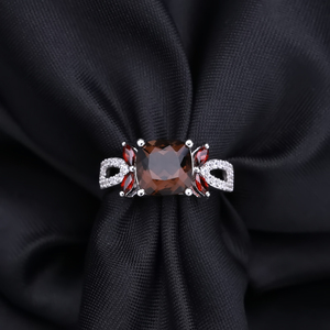 Image 3 - Gems ballet 스모키 쿼츠 925 스털링 실버 천연 보석 반지 여성을위한 결혼 약혼 럭셔리 고급 의상 쥬얼리