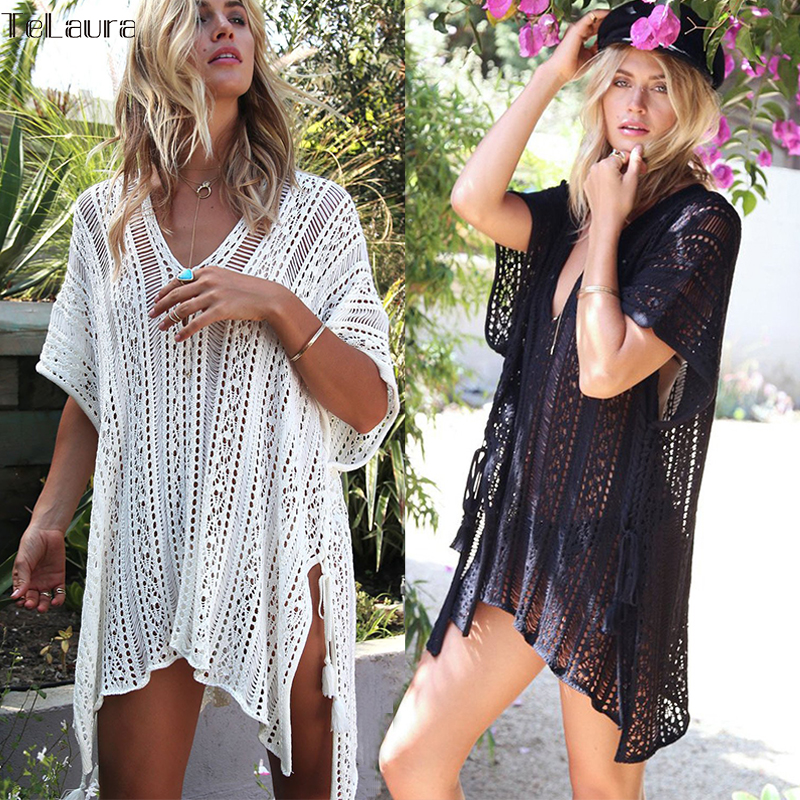 2018 New Beach Cover Up Bikini Crochet Knitted Tassel Tie Beachwear Summer Swimsuit Cover Up Sexy See-through Beach Dress strappy cross back crochet cover up swim dress