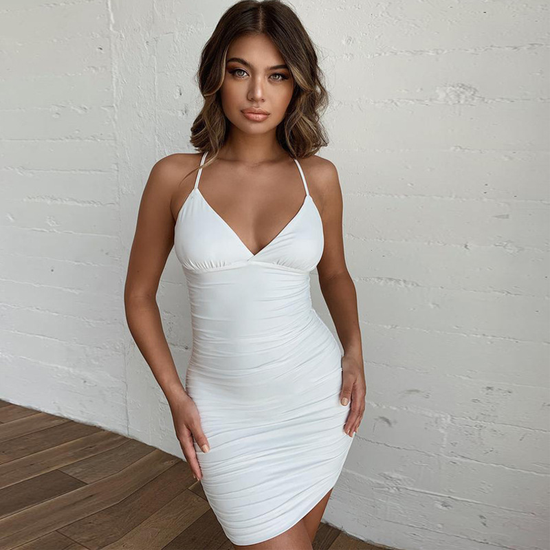 Spaghetti Strap V Neck Summer Club Wear Sexy Bodycon Backless Lace Up Neon Green Bnadage Female 2019 Cross Vestidos in Dresses from Women 39 s Clothing